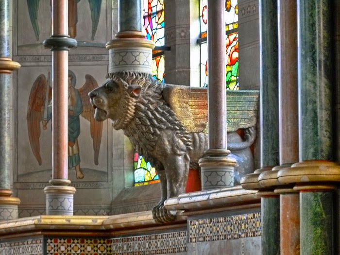 Winged lion of Judah, St Mary the Virgin, Studley Royal, Victorian Gothic