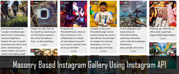 How to create a Masonry based Instagram gallery using Instagram API and jQuery?