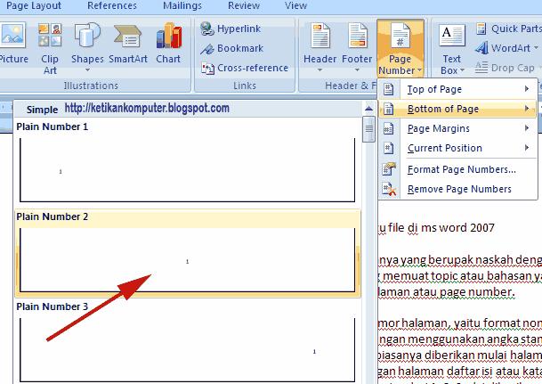 Mengatur Nomor Halaman di Word 2007