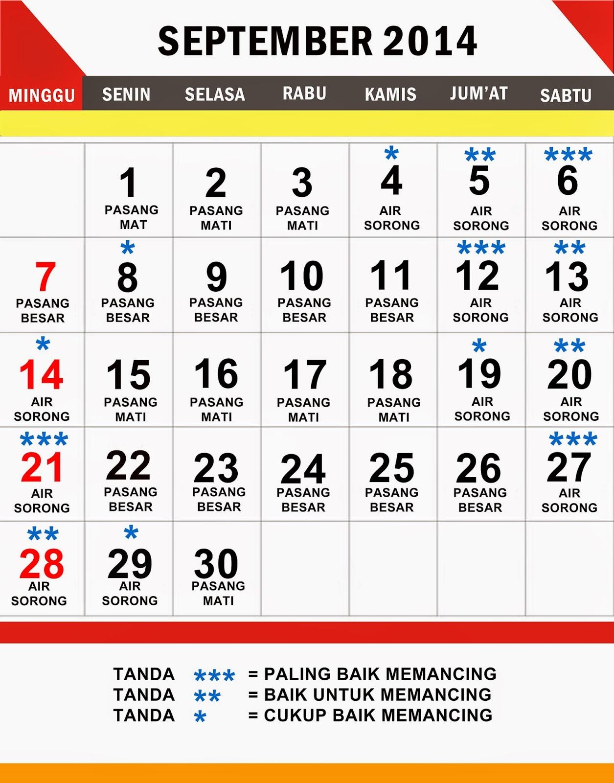 KALENDER MANCING  BULAN SEPTEMBER 2014