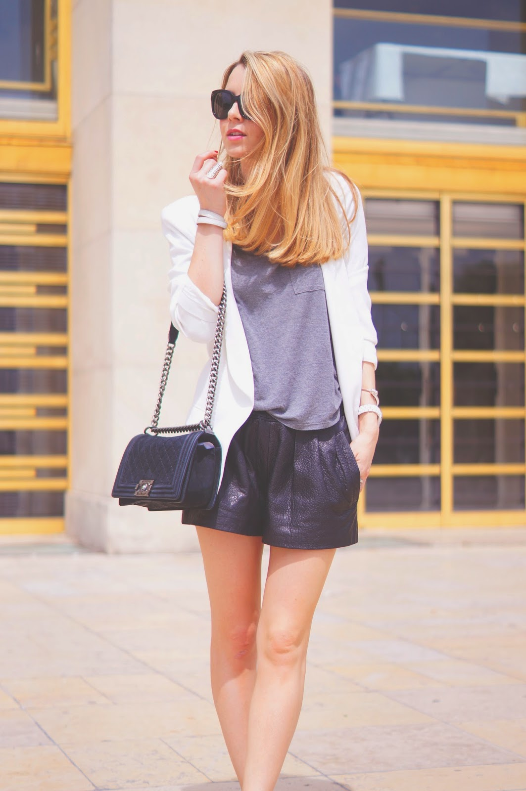 leather shorts, chanel, nike, paris, streetstyle