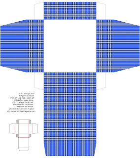 printable gift box- blue plaid
