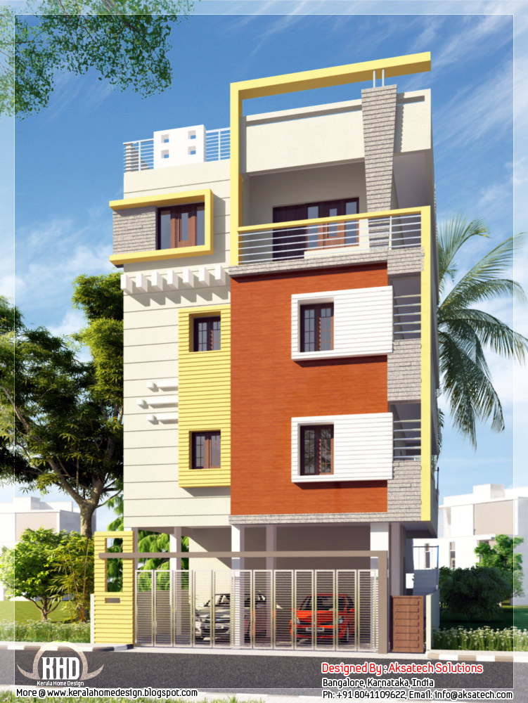 Mix collection of 3d home elevations and interiors for Indian home exterior designs
