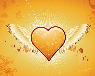 Corazón amarillo con alas
