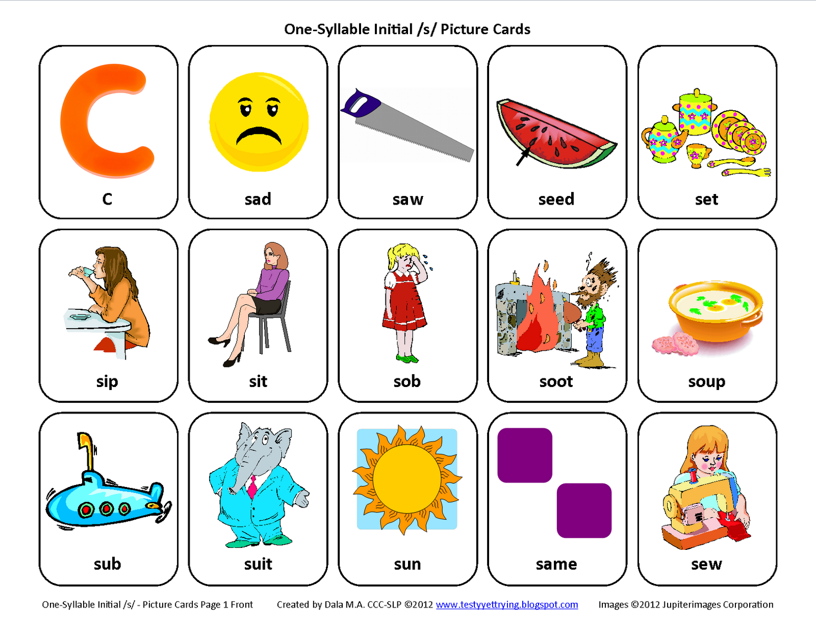 testy yet trying initial s speech therapy articulation card sets