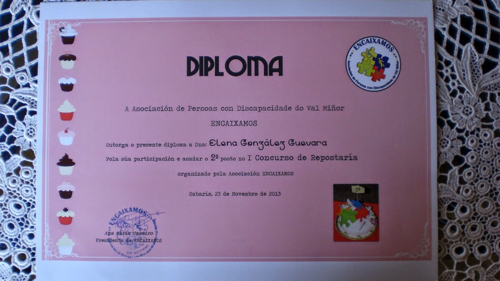 2º PREMIO Concurso Repostería de ENCAIXAMOS