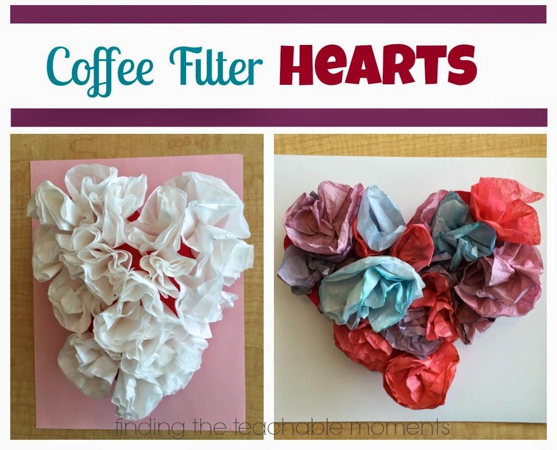 Coffee Filter Hearts!  Simple, no glue, and fantastic fine motor exercise!