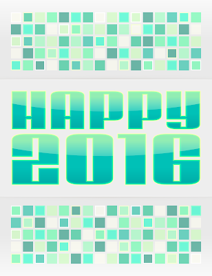 2016 New Years greeting within a mosaic style border.
