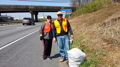 Volunteering for adopt-a-highway clean up.