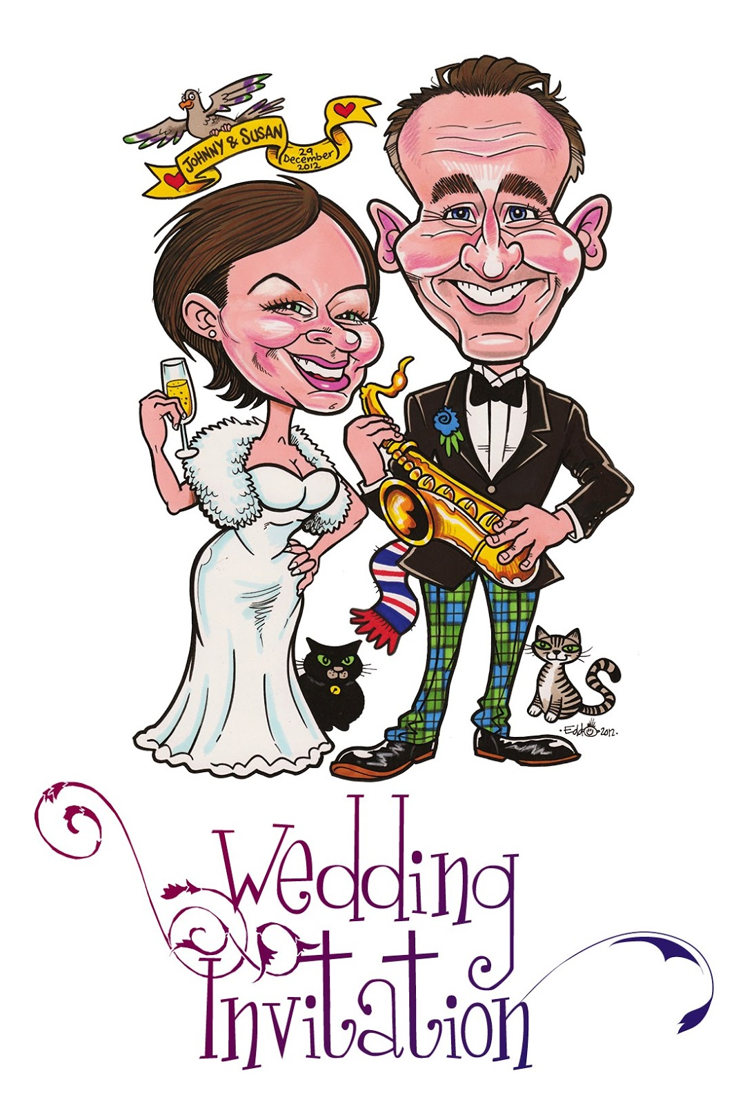 Edd Travers Caricature Blog: Wedding Invitation - Start to Finish