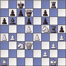 Partida de ajedrez Max Albin - José Paluzíe en 1910, posición después de 22.h4??