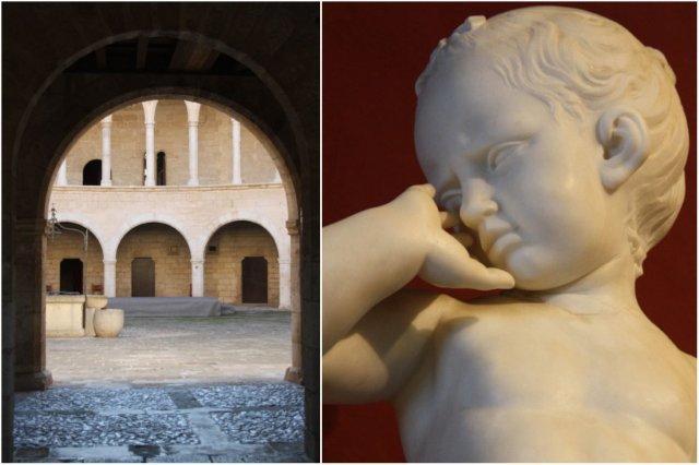 Patio interior y escultura de la Colección Depuig en el Castillo de Bellver en Palma de Mallorca