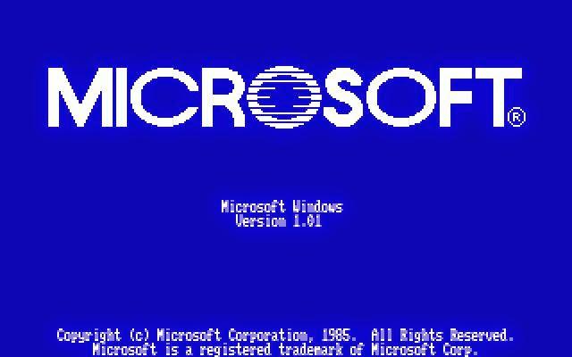 Página de carregamento do Windows em sua primeira versão