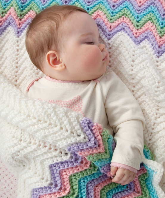 Baby Love Blanket Free Crochet Pattern : Lady Annes Cottage: Rickrack Rainbow Baby Blanket Crochet ...