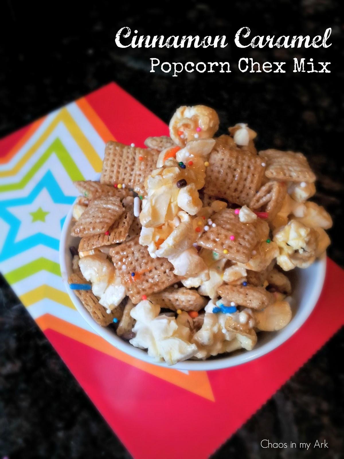 Cinnamon caramel popcorn chex mix kid friendly recipe