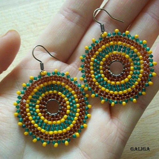 Beadwork Hoop Earrings-Multicolored Seed Bead Earrings