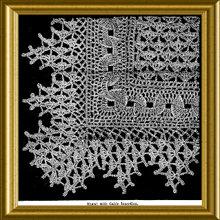 Edwardian Crochet Lace Shawl with Cable insertion