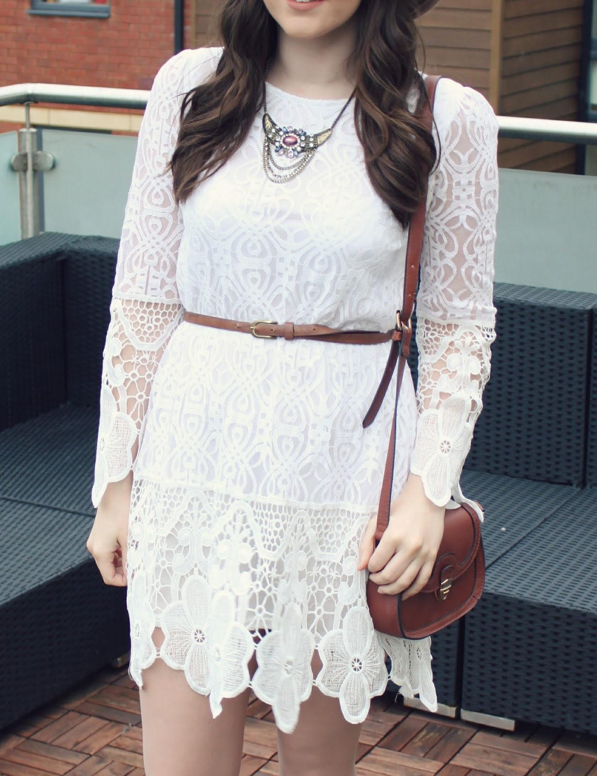 Bohemian-style-white-lace-dress-with-brown-bag
