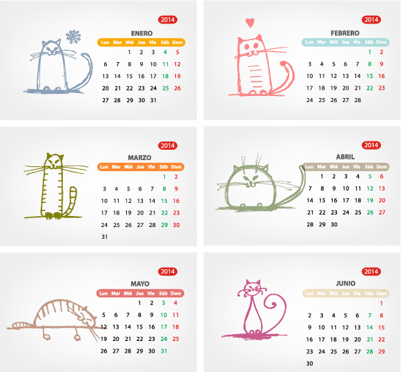 2014 Calendario mininos en español - vector