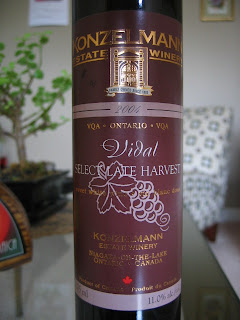 Label photo of 2004 Konzelmann Select Late Harvest Vidal from Ontario, Canada