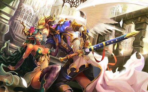 Fantasy Couple elf angel wings sword armor hd wallpaper 1920x1200