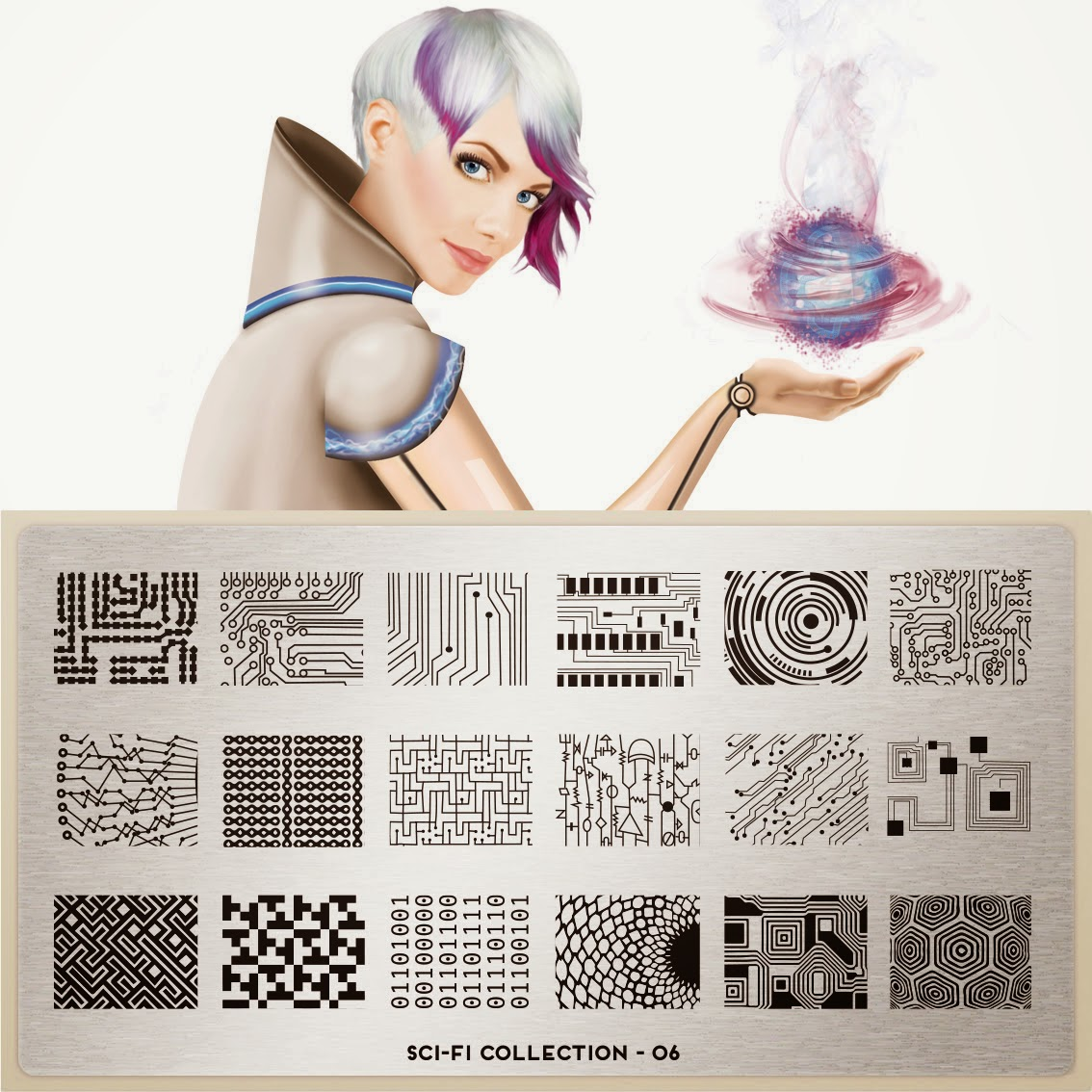 Lacquer Lockdown - MoYou London Sci-Fi Collection, MoYou London, stamping, nail art, new image plates 2014, new stamping plates 2014, new nail art plates 2014, alien nail art, aliens, tentacles, space nials, the matrix nails, diy nail art, cute nail art ideas, esay nail art. pueen 2013, bundle monster,