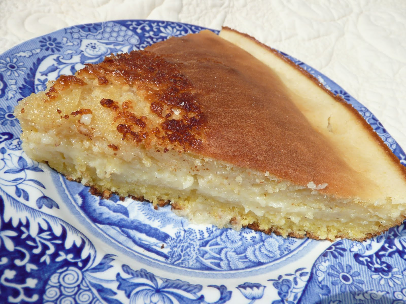 Warm, sweet custard layer forms between cornbread