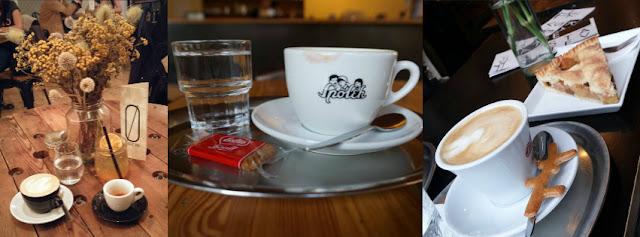 Espresso a cappuccino ve SKOG Urban Hub, cappuccino ve Spolku, cappuccino a apple pie v Šesté větvi