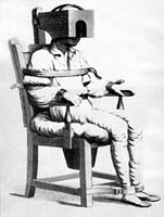 man strapped in tranquilizer chair for mental illness treatment