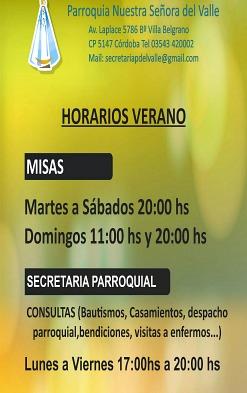 HORARIOS DE VERANO