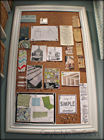 Bulletin board that covers the fuse box. Laundry room reveal.