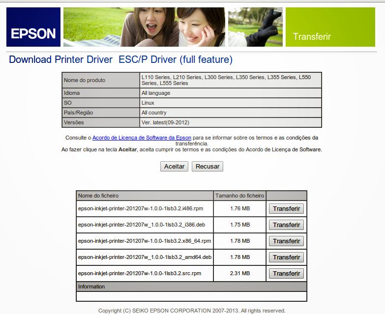 Download de Drivers Epson para Linux