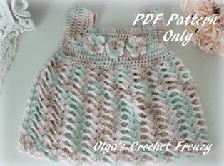 Crochet Baby Dress Pattern, Size 0-3 Months, $3.45