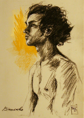 life drawing, chalk and charcoal on BFK Rives, Shannon Reynolds, 2012