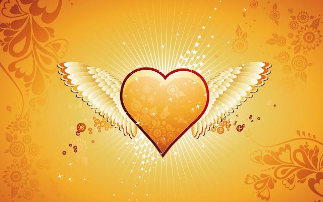 Oranje liefdes hartje met vleugels