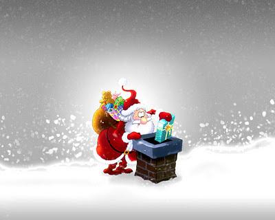 Papel de parede natalino Papai Noel descendo pela chamine