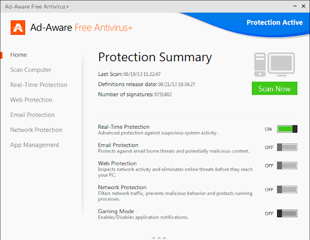 Ad-Aware Free Antivirus+ 11.0 - Protection Summary