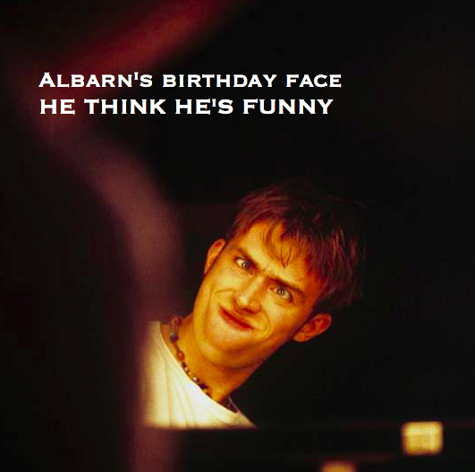blur damon albarn happy birthday, happy birthday damon albarn, 45 damon albarn, how old damon albarn, blur birthday, birthday damon 45th, damon albarn meme, funny damon albarn, blur meme, damon albarn born