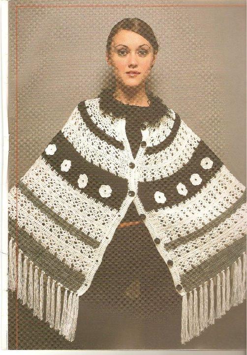 Poncho facil tejido a crochet.