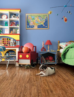 Solid hardwood flooring in child bedroom
