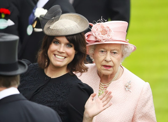funny: Princess Eugenie photobomb the Queen on day one of Royal Ascot, 2013
