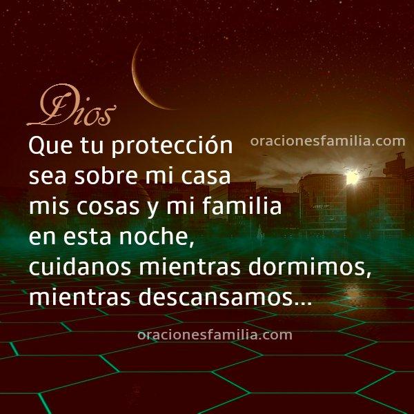 frases con oraciones familia buenas noches, imagen con frases de oración por una noche de protección y descanso.