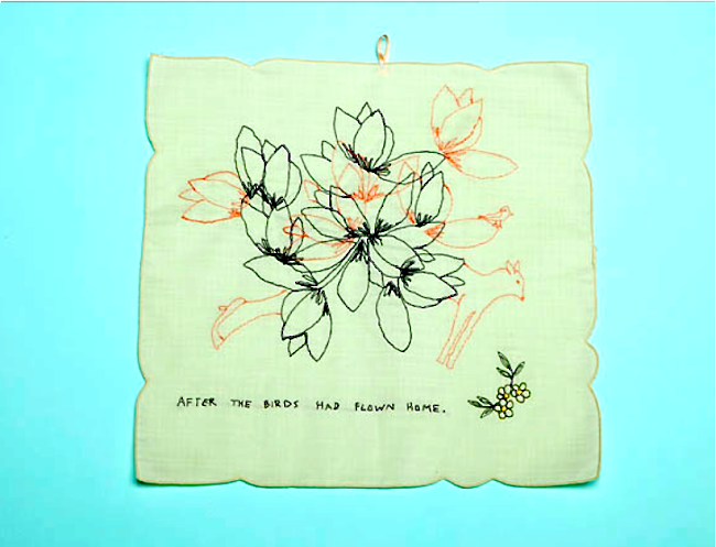embroidery, after the birds had flown home, by ulla-maija pitkanen
