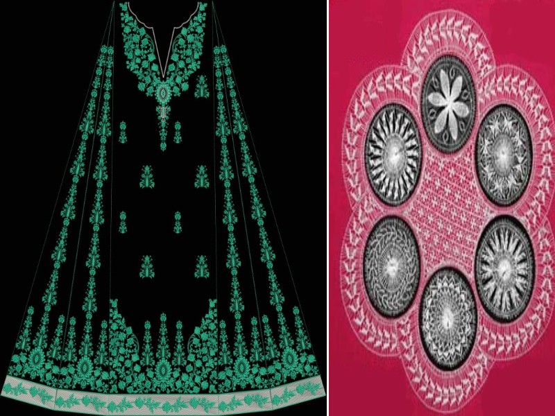 Embroidered Neckline Designs 3d Panels Design Computrised
