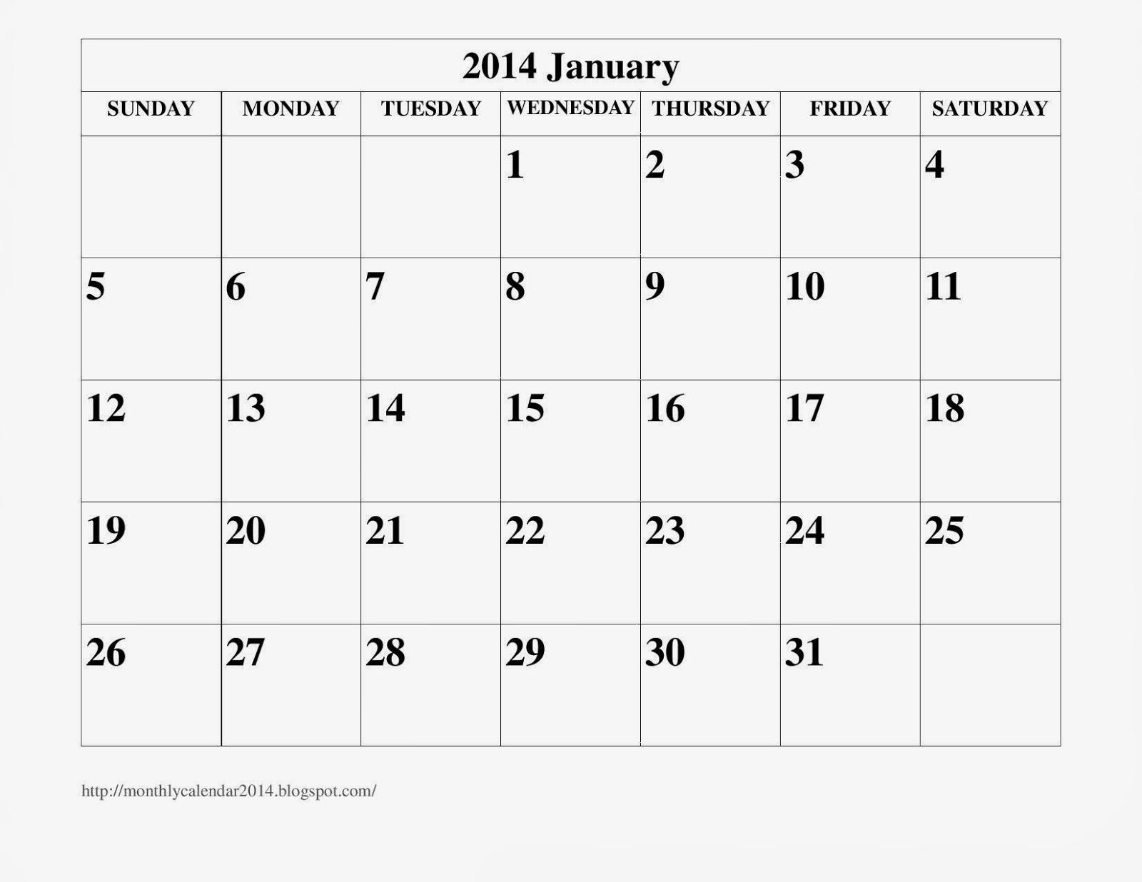 January 2014 Calendar Printable #16 - Printable Calendar 2014, Blank ...
