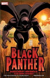 Cover of Black Panther volume 1. A man in a form-fitting, face-covering black bodysuit adorned with a cape and panther ears stalks directly towards the viewer through tall, yellow grass.