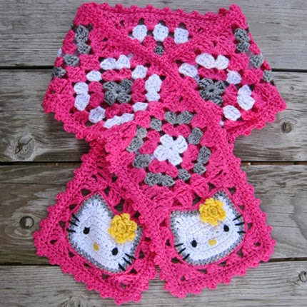 Hello Kitty Granny Square Scarf - Free Pattern