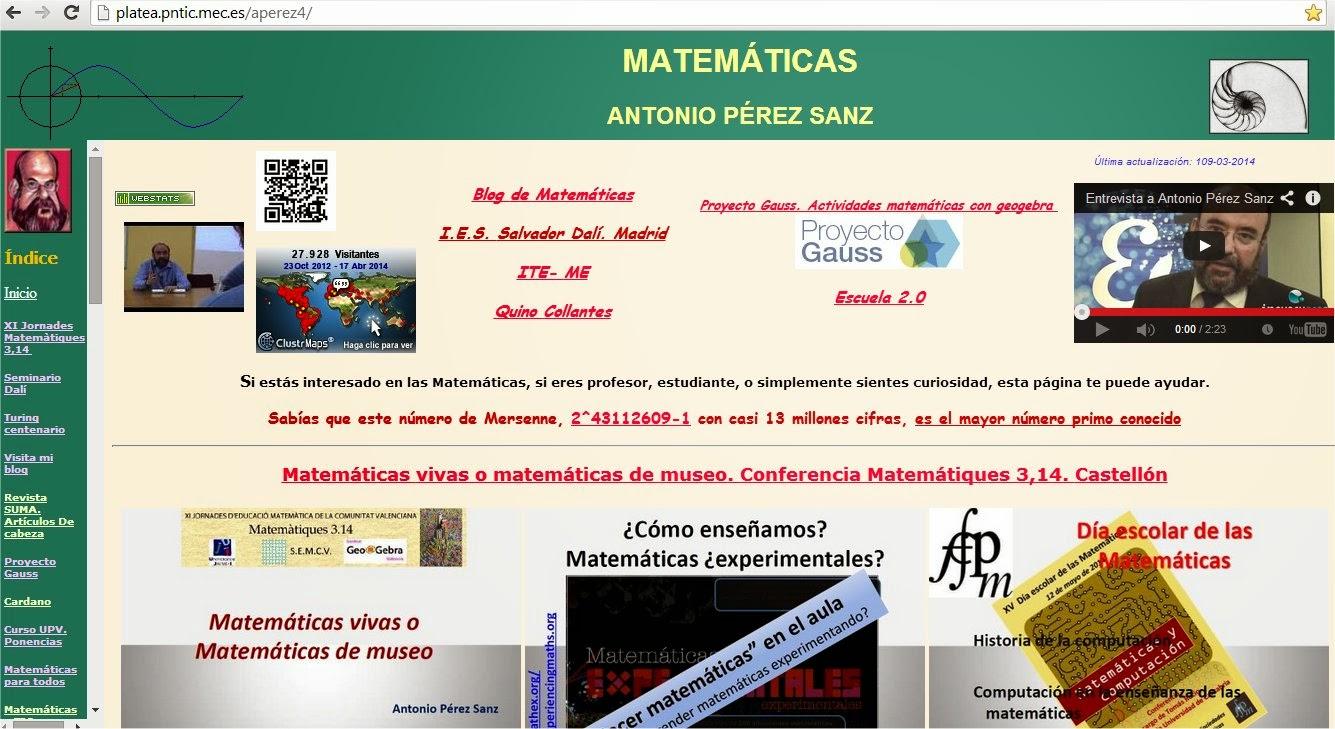 web de Antonio Pérez en platea.pntic.mec.es