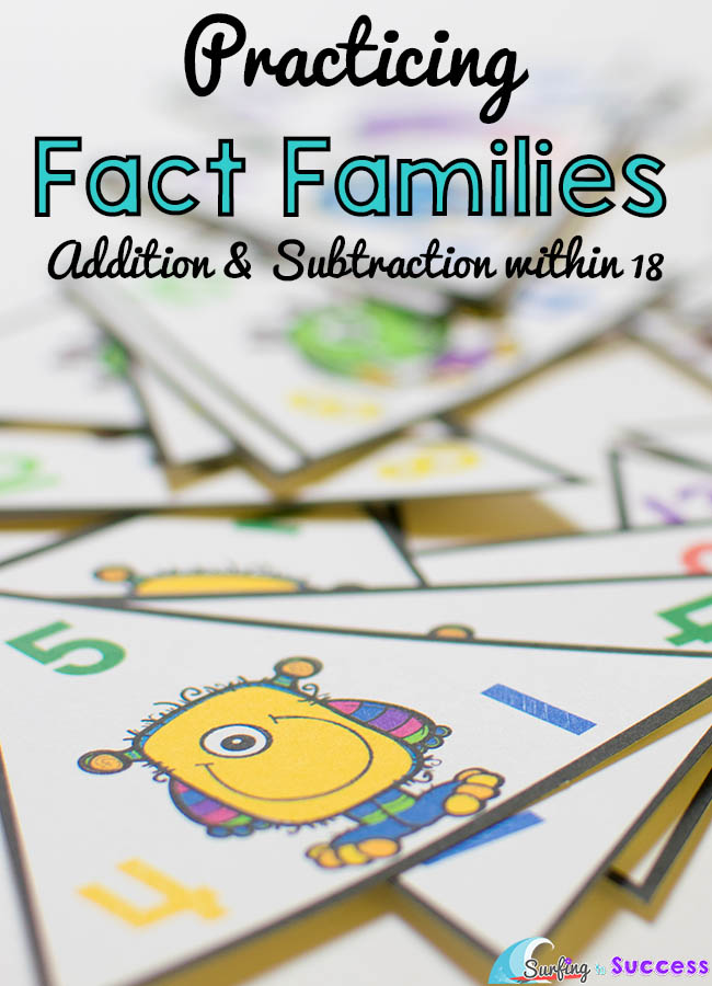 Fact Families Add and Subtract within 18 Surfing to Success – Fact Family Worksheets for First Grade