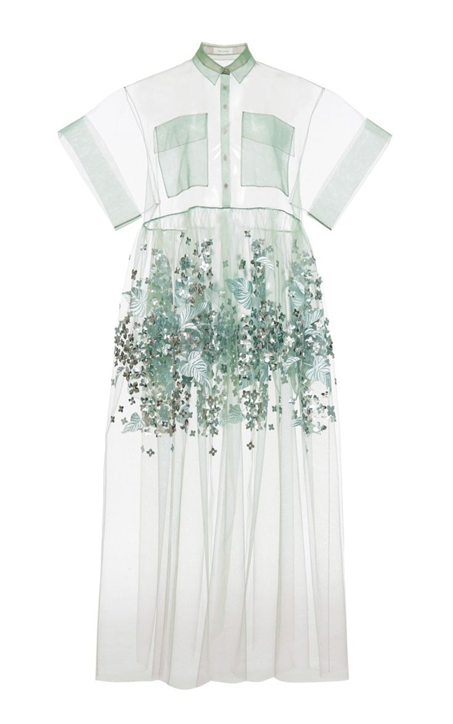 Delpozo RTW Spring 2015 Mint Print Embroidered Bobbinet Tulle Dress